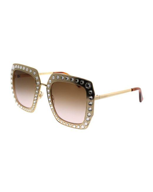 c0e54a816568e Gucci - Metallic Gg0115s 002 Gold Crystals Square Sunglasses - Lyst ...