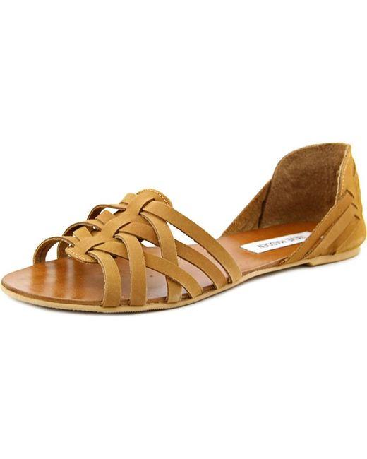 Steve Madden | Flute Women Open-toe Leather Brown Flats | Lyst
