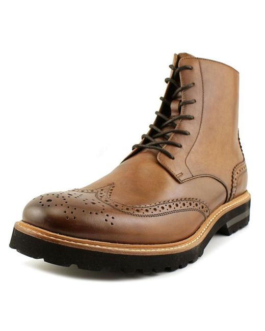 Kenneth Cole | Click Sound Men Round Toe Leather Brown Boot for Men | Lyst