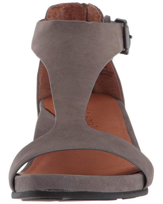 1d981c96bba2 Lyst - Gentle Souls Women s Gisele T-strap Wedge Sandal in Gray
