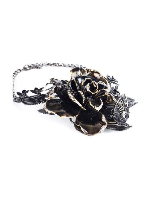 Roberto Cavalli | Metallic Women Swarovski Embellished Rose Collar Necklace | Lyst
