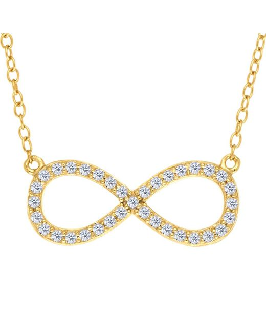 JewelryAffairs - White Infinity Sign Link And Cz Necklace In Yellow Color Finish Sterling Silver, 18 - Lyst