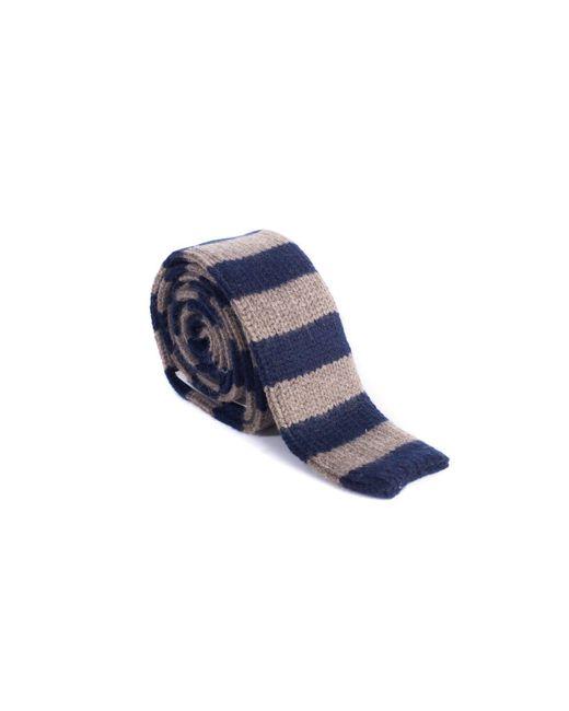 Brunello Cucinelli - Blue Cashmere Brown & Navy Striped Tie for Men - Lyst