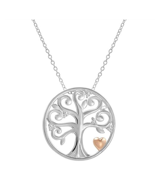 Amanda Rose Collection | Metallic Sterling Silver Diamond Accented Tree Of Life Pendant-necklace | Lyst