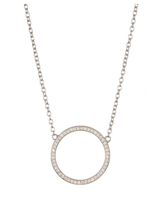 Adornia | Metallic Sterling Silver And Swarovski Crystal Circular Necklace | Lyst