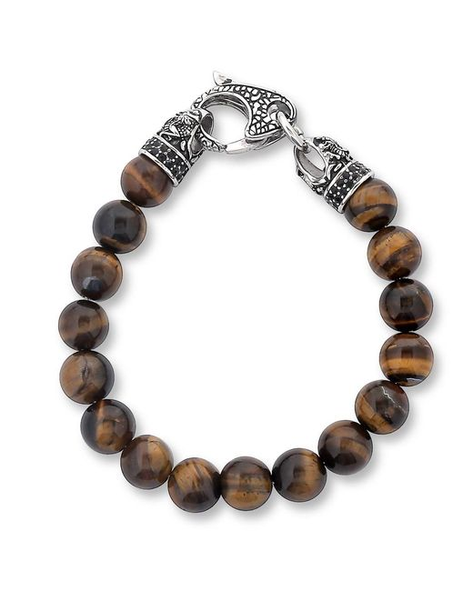 West Coast Jewelry | Metallic Crucible Stainless Steel Polished Tiger's Eye Antiqued Finish Dragon Clasp Beaded Bracelet (10.5mm) for Men | Lyst