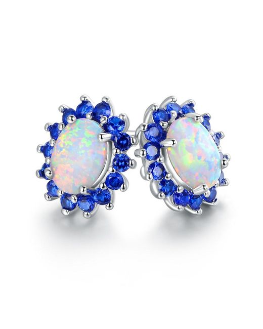 Peermont - Metallic 18k White Gold Plated White Fire Opal & Genuine Blue Spinel Flower Stud Earrings - Lyst