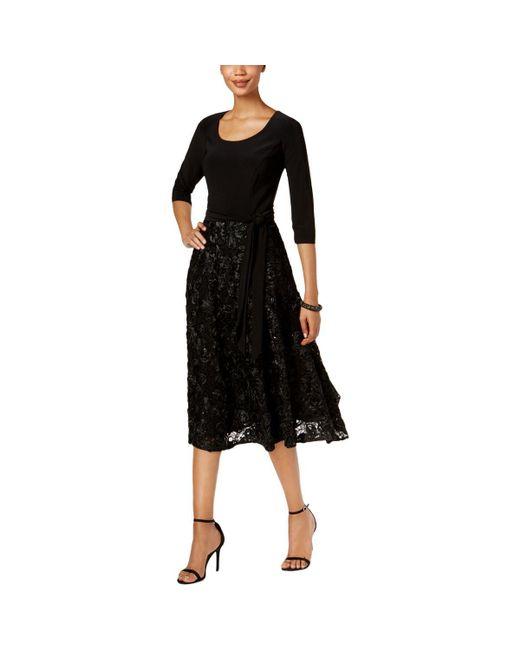 Alex Evenings - Black Womens Rosette Tea Length Special Occasion Dress - Lyst