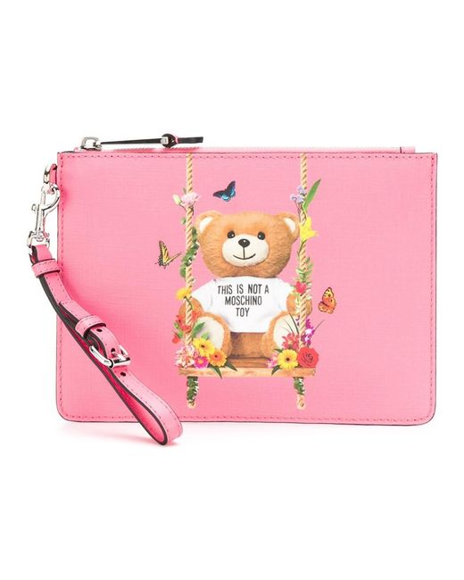 Moschino - Women's Pink Leather Clutch - Lyst