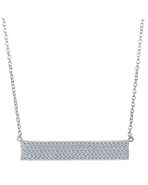 JewelryAffairs - White Sterling Silver Wide Rectangle Bar Pendant Cz Necklace, 18 - Lyst