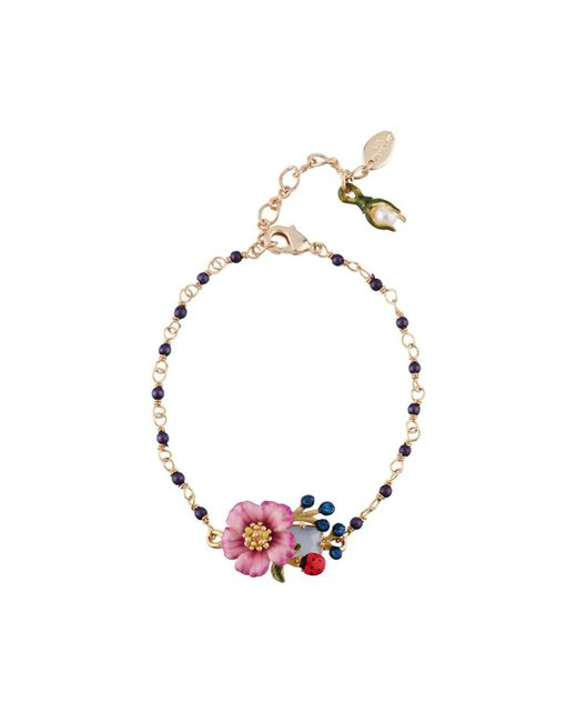 Les Nereides | Oriental Rose Faceted Glass Pink Flower And Berries Pearly Bracelet | Lyst