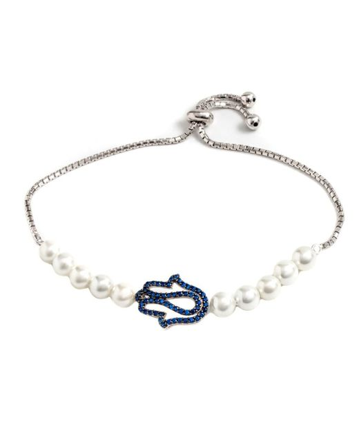 Barzel - Metallic Sterling Silver Freshwater Pearl Cz Blue Hamsa Friendship Bolo Adjustable Bracelet - Lyst