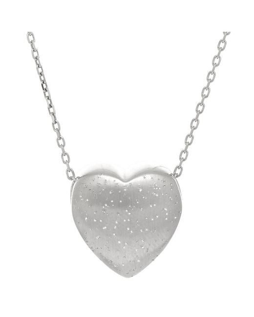 JewelryAffairs - White Sterling Silver Sliding Heart Shape Charm Necklace, 18 - Lyst