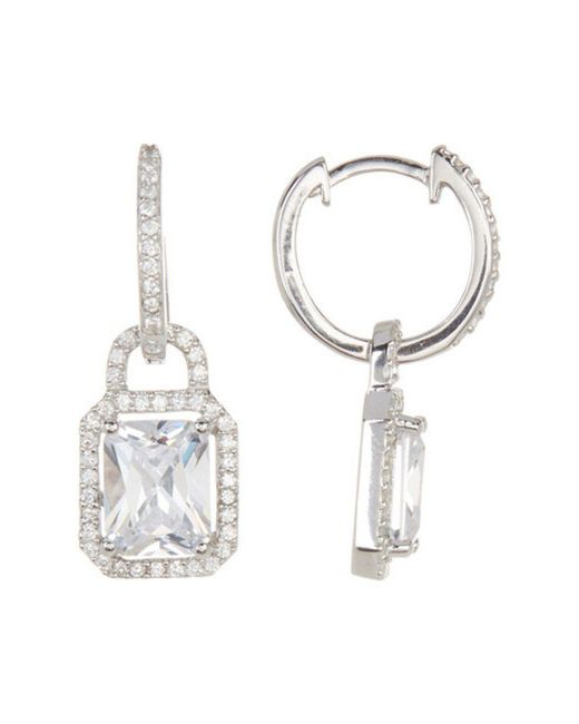 Adornia - Metallic Sterling Silver And Swarovski Crystal Emerald Cut Huggie Halo Earrings - Lyst
