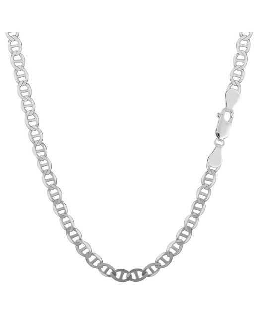 JewelryAffairs - White Sterling Silver Rhodium Plated Flat Mariner Chain Necklace, 3.5mm, 16 - Lyst