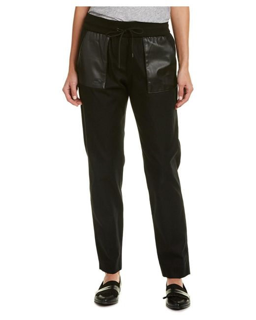 The Kooples | Black Leather-trim Sweatpant | Lyst