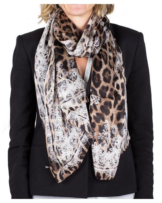Roberto Cavalli | Brown Women's Lace Floral Animal Print Silk Scarf Large | Lyst