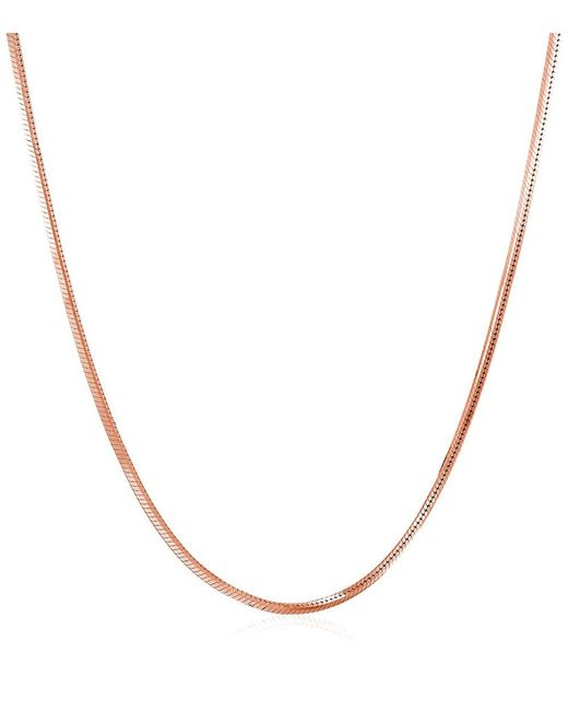 "Barzel | Pink 20"""" 18k Rose Gold Ptd Sterling Silver 4-sided Snake Chain Necklace 