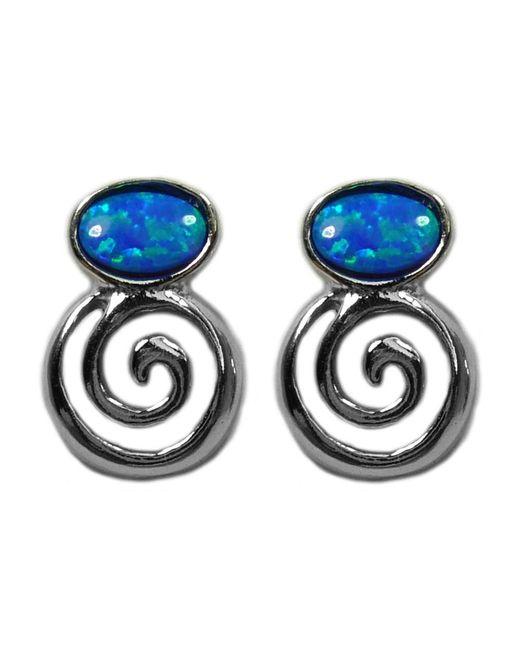 JewelryAffairs - Metallic Sterling Silver Greek Spiral Key With Synthetic Opal Earrings, 10 X 14mm - Lyst