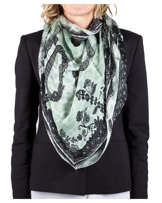 Roberto Cavalli | Green Women's Lace Floral Animal Print Silk Scarf Large | Lyst