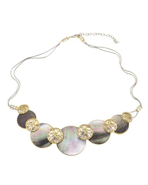 Jewelista | Silver & Black Mother Of Pearl Necklace | Lyst