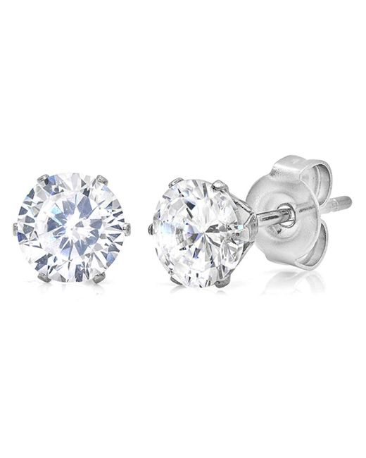 Amanda Rose Collection - Metallic 6mm Round Cubic Zirconia Stud Earrings Set In Stainless Steel ( Mens - Ladies- 2 3/4ct) - Lyst
