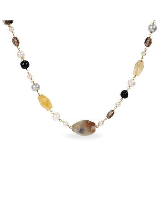 Catherine Malandrino   Black Freshwater Cultured Pearl And Gems Bead Necklace   Lyst