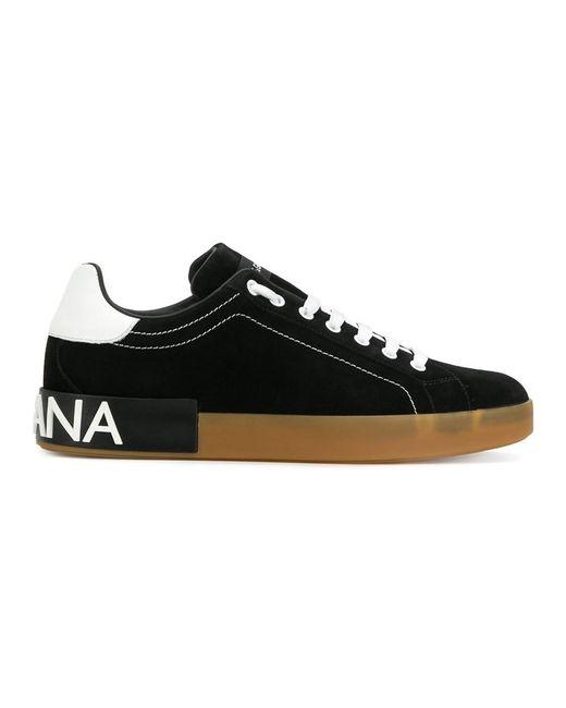 Dolce & Gabbana   Black Contrast Logo Heel Sneakers for Men   Lyst