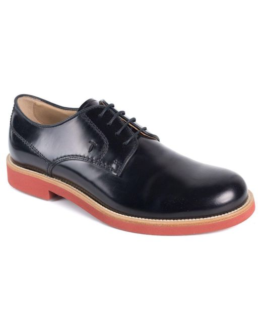 Tod's - Tods Mens Black Leather Polished Lace Up Derby Shoes for Men - Lyst