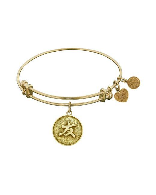 Angelica - Yellow Stipple Finish Brass Friend Bangle Bracelet, 7.25 - Lyst