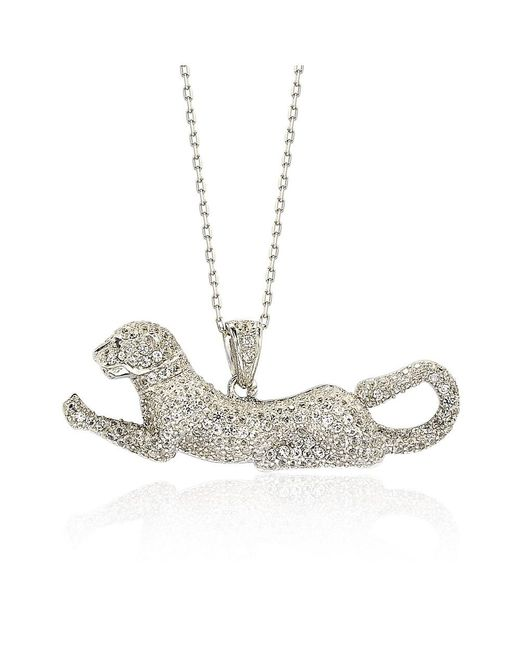 Suzy Levian - Sterling Silver White Sapphire And Diamond Accent Prowling Tiger Pendant - Lyst
