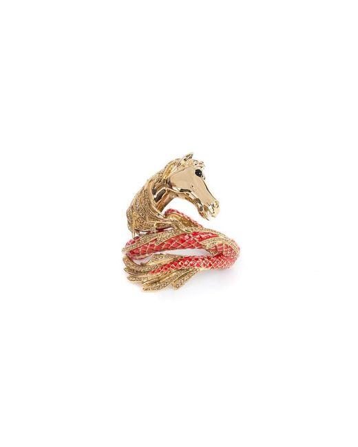 Roberto Cavalli - Metallic Limited Edition Brass Gold Swarovski Horse Bracelet - Lyst