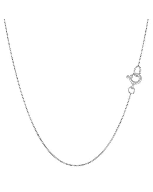 JewelryAffairs - 14k White Gold Classic Mirror Box Chain Necklace, 0.6mm, 20 Inch - Lyst