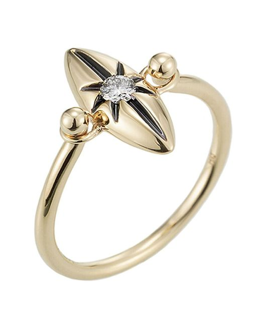 Jewelista - Diamond Marquise Star Ring In 14k Yellow Gold ( 0.10cts, H-i I1) - Lyst