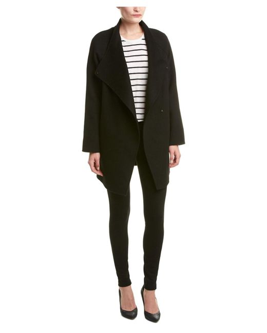 Vince | Black Draped Wool-blend Coat | Lyst