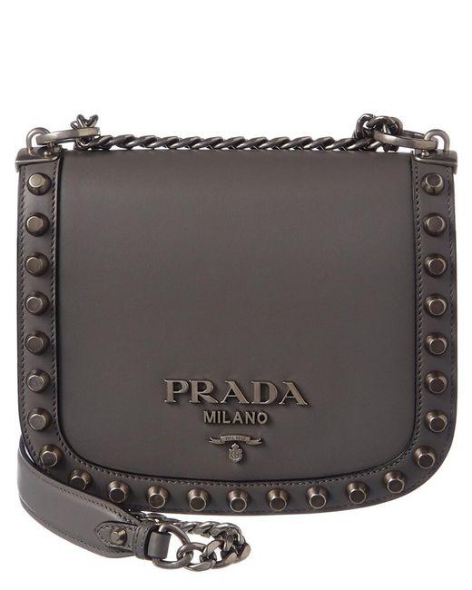 42a8a2cca6f503 Prada - Metallic Pionniere Leather Shoulder Bag - Lyst ...
