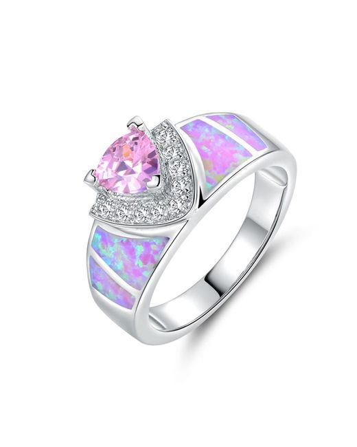Peermont - Metallic 18k White Gold Plated Pin. K Fire Opal & Pin. K Cz Trillion-cut Ring - Lyst