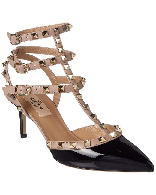 Valentino - Pink Rockstud Patent Ankle Strap Pump - Lyst