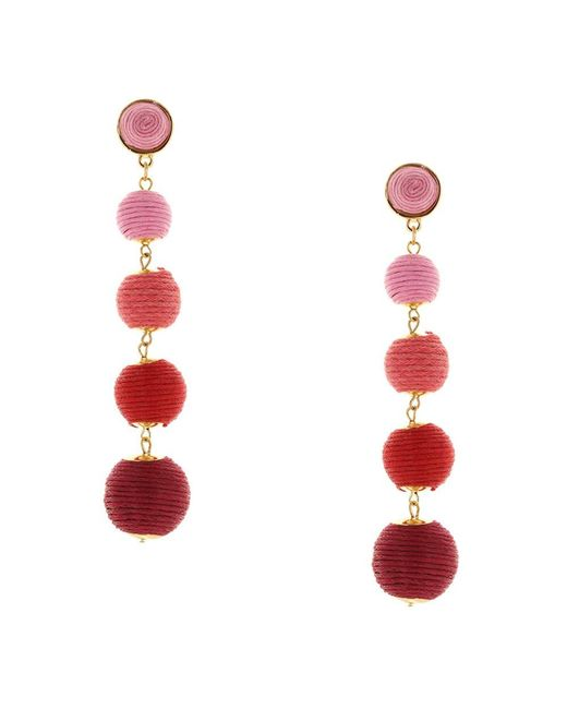 Sparkling Sage - Red 14k Yellow Gold Plated Threaded Drop Earrings - Lyst