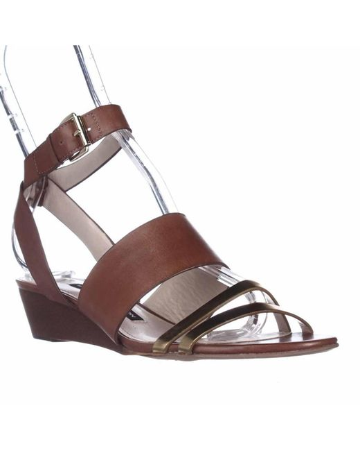 French Connection - Brown Wiley Ankle-strap Wedge Sandals - Lyst