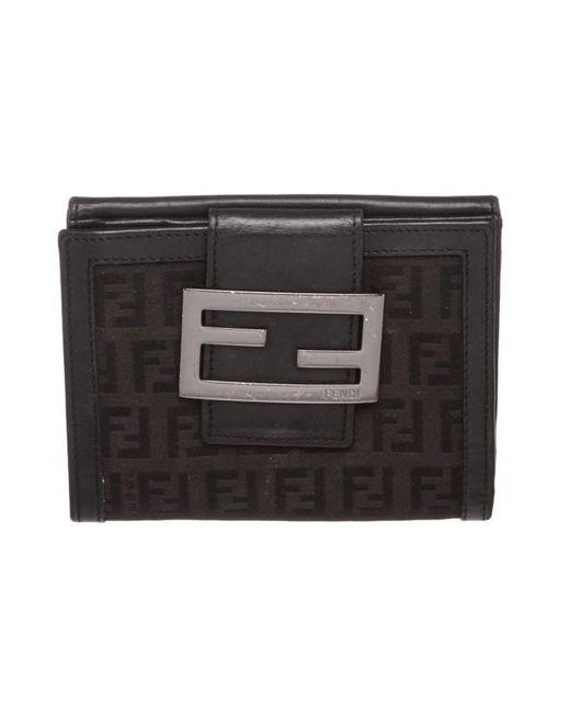 19b05f72635 ... order fendi black zucca canvas leather trim small wallet lyst a1a3b  b9acc ...