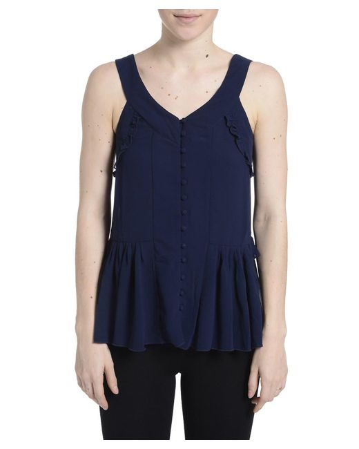 Romeo and Juliet Couture | Blue Sleeveless Buttoned Tank Top | Lyst
