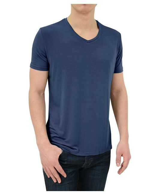 Stone Rose - Blue Soft Navy V-neck Modal T-shirt for Men - Lyst