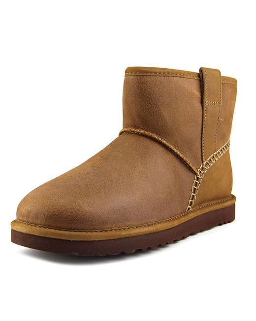 Ugg | Brown Classic Mini Stitch Men Round Toe Leather Tan Winter Boot for Men | Lyst