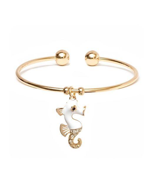Peermont | Metallic Gold & Swarovski Elements White Seahorse Charm Cuff | Lyst