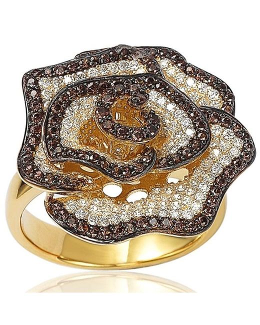 Suzy Levian | Golden Sterling Silver Brown And White Cubic Zirconia Pave Flower Ring | Lyst