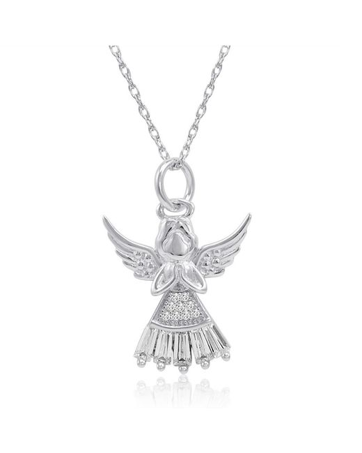 Amanda Rose Collection - Metallic Sterling Silver White Skirt Angel Pendant-necklace Made With Cubic Zirconia - Lyst