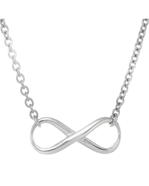 JewelryAffairs | White Infinity Sign Link Necklace In Sterling Silver, 18 | Lyst