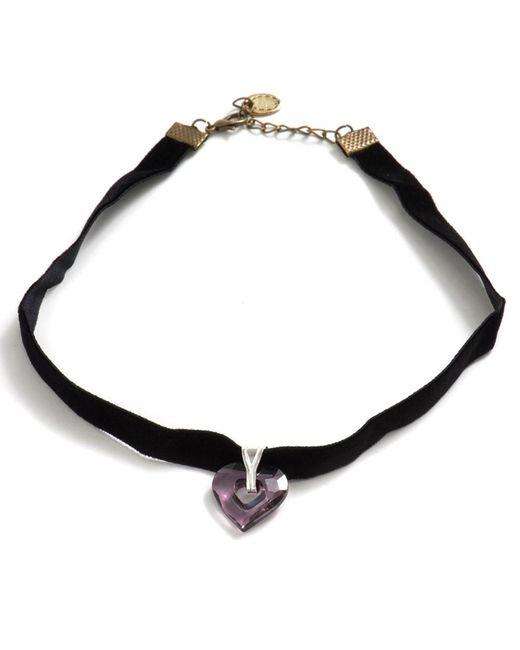 Barzel - Metallic Swarovski Amethyst Miss U Heart Pendant Choker Necklace - Lyst
