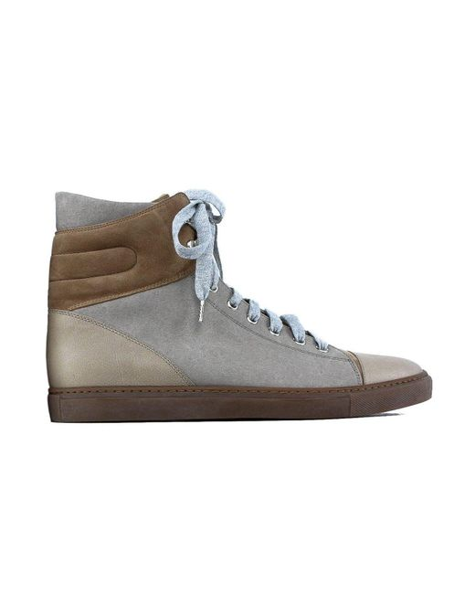 Brunello Cucinelli - Women Brown Leather Suede High Top Sneakers - Lyst